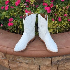 White  Ostrich skin leather cowboy boots